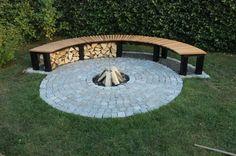 Fireplace idea including wood storage #fireplace #wood #bench