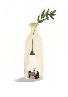 Dinner in a #bottle under a green light #illustration by #David Litchfield