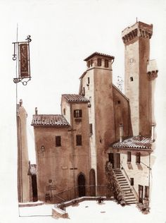 Fred Lynch - Bleak Houses, Italy (Urban Sketchers) -great use of shadows