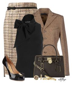 """""""Fall Office Style"""" by kginger on Polyvore featuring Ralph Lauren, Salvatore Ferragamo, MICHAEL Michael Kors, Belle Noel by Kim Kardashian and Monet"""