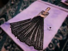 How to draw Black Lehenga and top Ii Simple fashion illustration drawing Dress Design Drawing, Dress Design Sketches, Dress Drawing, Fashion Design Sketches, Dress Designs, Art Sketches, Dress Illustration, Fashion Illustration Dresses, Fashion Illustrations