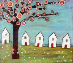 https://flic.kr/p/7vGDhb | Houses Tree  Collage Landscape Painting Art by Sascalia | This is my new mixed media landscape collage painting. To find out more about me and my art please read my profile.