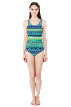 Hit the pool and beach in your own personally designed one-piece swimsuit!   Made from 90% Polyester, 10% Spandex Available in XS, S, M, L, XL, 2XL and 3XL #swimsuit #tribal #ethnic #green #emerald #blue #abstract #geometric #summer #sport #beach #swimming #pinkcess #nikamartinez