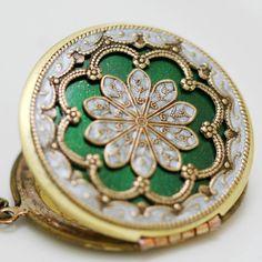 Locket,Green locket,filigree locket necklace,resin locket,photo locket ,bridesmaid Brass locket- vintage locket, 38mm locket. $69.99, via Etsy.