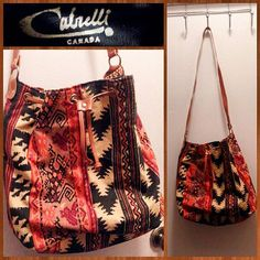 80s ikat design canvas and faux leather tote bag.  Interior is lined with vinyl, making it a great beach or lunch bag.  Made in Canada.  Appears unused.