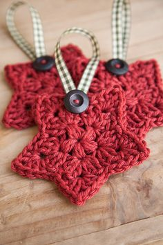 Crochet Christmas Star Set of 3 Christmas Ornament by SlumberSpun
