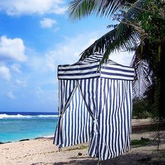 Portable Blue Stripe Tent Changing Room C&ing Cabana Outdoor Pop Up Canopy New & Steal of the Day: Pottery Barn Chesapeake Changing Cabana | Cabana ...