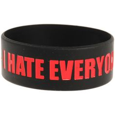 I Hate Everyone Rubber Bracelet | Hot Topic ($3.75) ❤ liked on Polyvore featuring jewelry, bracelets, accessories, rubber bracelets, wristbands, hot topic, rubber bangles, rubber jewelry and hot topic jewelry