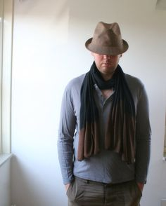 OMBRE wool scarf  large handdyed black and brown by LilacCadillac, $45.00