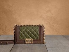 Chanel two tone boy bag green with brown trim http://x.vu/chanelbags