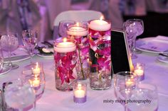 Hot pink Orchids in 3 trios! Centerpieces, Table Decorations, Pink Orchids, Hot Pink, Candles, Flowers, Wedding Ideas, Home Decor, Homemade Home Decor