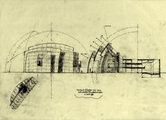 Church of the Year 2000 south elevation and long section, by Richard Meier