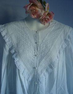 Vintage White Cotton Nightgowns | Vintage French Maid White Cotton Nightgown Nightshirt White Nightgown, Vintage Nightgown, Abaya Fashion, Lolita Fashion, Cotton Nighties, Vintage Outfits, Vintage Fashion, Kurti Neck Designs, Vintage Lingerie