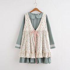 Buy Moricode Set : Floral Print Sleeveless Dress + Pintuck Collared Long-Sleeve…