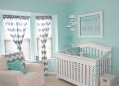 Chevron & Aqua Nursery - curtains from Urban Outfitters. For our nursery Instead of painting a chevron wall. I'm just going to put up chev curtains! Grey Chevron Nursery, Aqua Nursery, Nursery Room, Girl Nursery, Gray Chevron, Turquoise Nursery, White Nursery, Tiffany Blue Nursery, Chevron Bedding