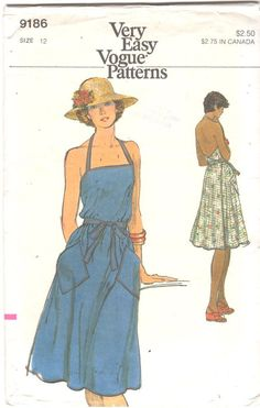 f40b4e9581d Vogue 9186 1970s Misses Wrap Halter Sundress Pattern Low Back Very Easy  Womens Vintage Sewing Pattern Size 12 Bust 34 UNCUT