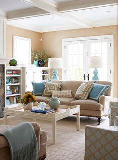 Contemporary Living Room by Lauren Muse Light blue and tan living room Living Room Turquoise, Beige Living Rooms, My Living Room, Home And Living, Living Room Decor, Living Spaces, Coastal Living, Cottage Living, Coastal Style