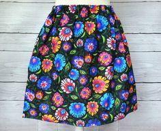 Floral skirt,Knee Length Skirt ,black skirt, floral print, elastic waist skirt, Knee Leng Elastic Waist Skirt, Duffy, Vera Bradley Backpack, Folk, Floral Prints, Pretty, Skirts, Fabric, Cotton