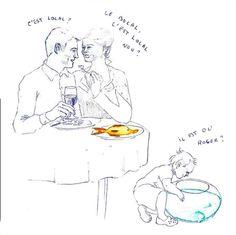 """Juin 2014  """"C'est local ? Le bocal, c'est local, non ?""""  """"-Il est où Roger ??""""  Illustration de Pauline Hersart de la Villemarqué"""