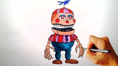 ♥ How to draw Nightmare Balloon Boy from FNAF 4 Halloween edition (Drawi...
