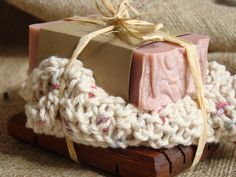 Rose Clay Soap Gift Set - Handmade Cold Process, All Natural, Wooden Soap dish, Handmade wash cloth, Teacher gift