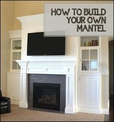 How to Build Your Own Mantel PUT A MANTEL LIKE THIS IN THE BASEMENT WITH AN ELECTRIC FIREPLACE AND INSTALL THE TV ABOVE IS WITH CABINETS ON THE SIDE FOR OTHER MACHINES. by momo4