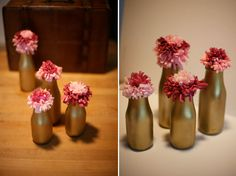 diy_paper_flowers_10, I wanted to show easy ways you could take this idea and mix it up. For these below I did the first pom in one color of tissue paper, then took another color and wrapped it around the first pom. The bottles are Starbucks Frappacino bottles! I took off the labels and spray painted them gold – they have 2 different sizes also to give some variety