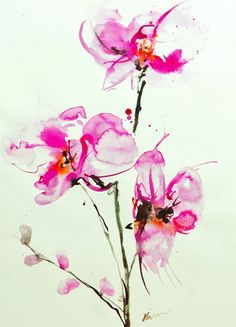 If i didn't already have orchids i would so love to have them like this. These are gorgeous. Orchid Watercolor by Karin Johannesson