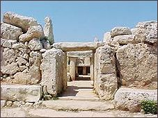 The Temples of Hagar Qim,  The oldest buildings in Europe are found in Malta - older than the Pyramids of Egypt. The occupation and settlement of Malta by modern humans began approximately 7,000 years ago,