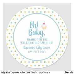 Baby Blue Cupcake Polka Dots Thank You Classic Round Sticker Polka Dot Cupcakes, White Cupcakes, Polka Dot Background, Baby Shower Thank You, Gold Polka Dots, Baby Design, Round Stickers, Free Paper, Custom Stickers