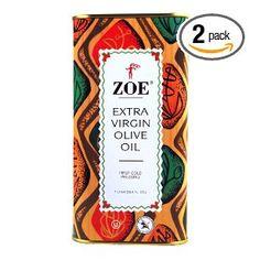 Zoe Extra Virgin Olive Oil, 1 Liter Tins (Pack of 2) $23.94
