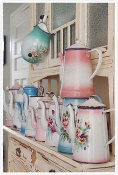 #Vintage teapots in #spring #pastels
