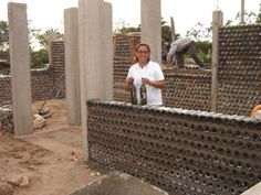 plastic bottle housewine bottle house plastic bottle house This home in Bolivia incorporates lots of wine bottles as well as PET bottles. Here they used concrete pillars instead of PET columns. See more Eco-Tec construction photos at bottom of page