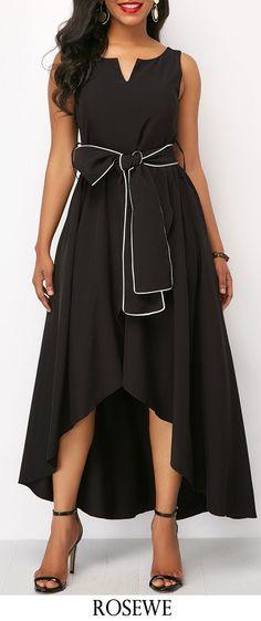 Black Sleeveless Split Neck Maxi Dress.#Rosewe#dress#maxidress#summerstyle