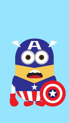 Despicable Me inspired Captain America minion iphone 6 plus wallpaper for 2014…