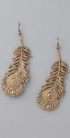 Alkemie Jewelry Peacock Feather Earrings - StyleSays