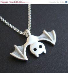 Silver Bat Necklace by zoozjewelry