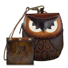 Owl Leather Wristlet