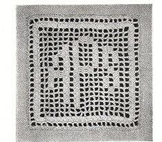 Vintage crochet pattern- early 1900s alphabet square motif for monograms- all letters given in the 3 types- great for customised gifts pdf