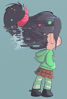 Galera mesmo sendo um desenho, a parada de glitch que eu tinha em mente era bem leve tipo essa no cabelo dessa menina