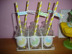 Decorated Milk Bottles For Easter Display Decorated Bottles, Milk Bottles, Easter Crafts, Decorations, Display, Kitchen, Floor Space, Cooking, Billboard