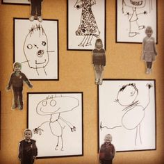 "Great activity to prompt ""About Me"" Writing! ....Mini Me monochrome self portrait display shared by ABC Does ("",)"