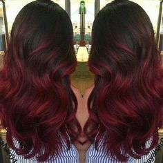 Black and dark red ombré hair