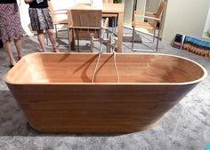 wooden bathtub