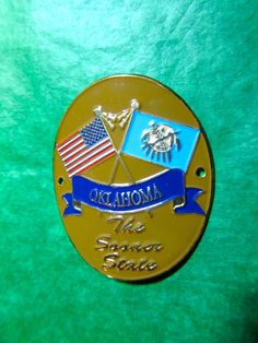 THE SOONER STATE & US FLAGS HIKING STICK MEDALLION OKLAHOMA TRAVEL SOUVENIR