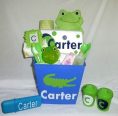 Personalized ALLIGATOR Green Blue Baby Boy Gift Basket for Baby Shower. $45.00, via #hand made gifts #creative handmade gifts #handmade gifts| http://best-doityourself-gift-ideas.blogspot.com