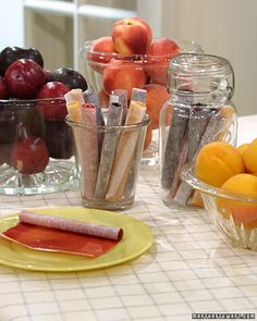 Home-made fruit roll ups recipe from Martha Stewart.