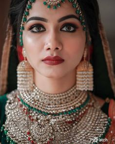 Love this Indian bride in green and red studded silver choker necklace and pearl earring in 2020 Indian Bridal Outfits, Indian Bridal Fashion, Indian Bridal Makeup, Bridal Looks, Bridal Style, Silver Choker Necklace, Bride Photography, Wedding Jewelry, Bridal Lehenga