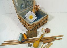 Antique Wood & Wicker Basket with Sewing Notions Collectibles - Vintage Primitive Crafters Decor Collection - Rustic Artisan Chest of Tools $48.00 by DivineOrders