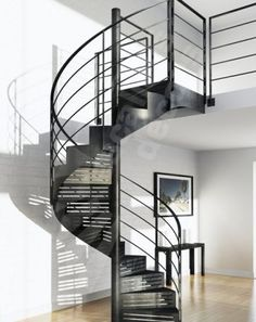 Metal Barn Homes, Metal Building Homes, Pole Barn Homes, Luxury Staircase, Spiral Staircase, Staircase Design, Metal Stairs, Modern Stairs, Stair Slide
